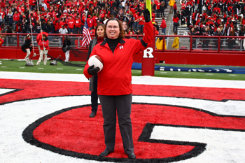 Dr. White recognized at a 2012 Rutgers football game