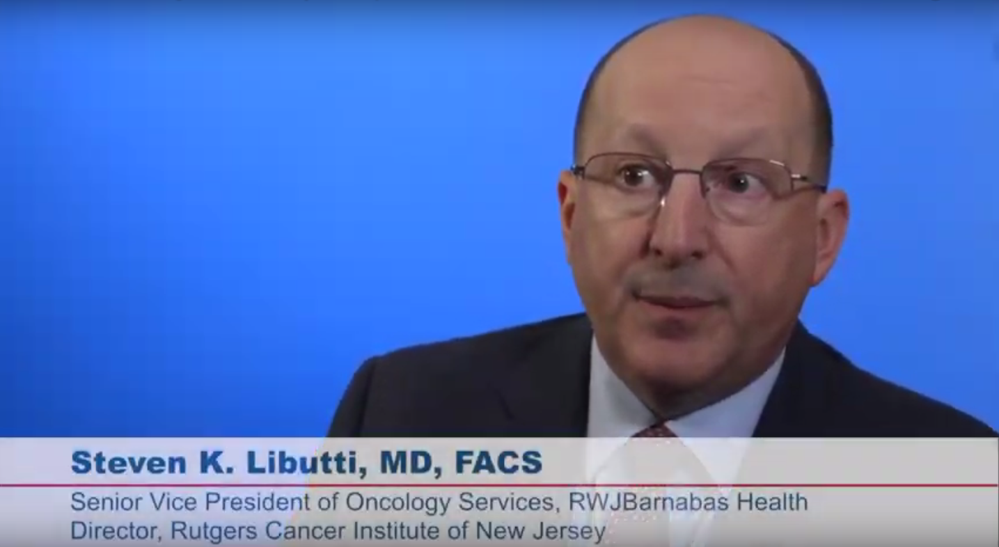 Screen capture of Dr. Libutti speaking in a video.