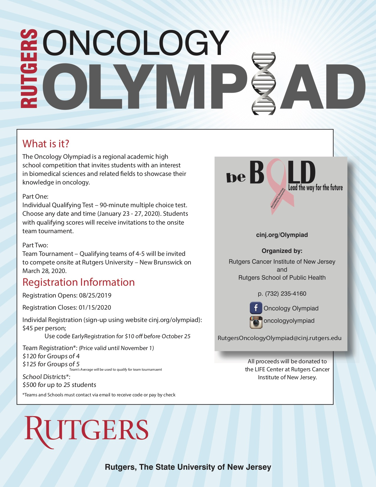 Rutgers Summer Courses 2020.Oncology Olympiad Rutgers Cancer Institute Of New Jersey