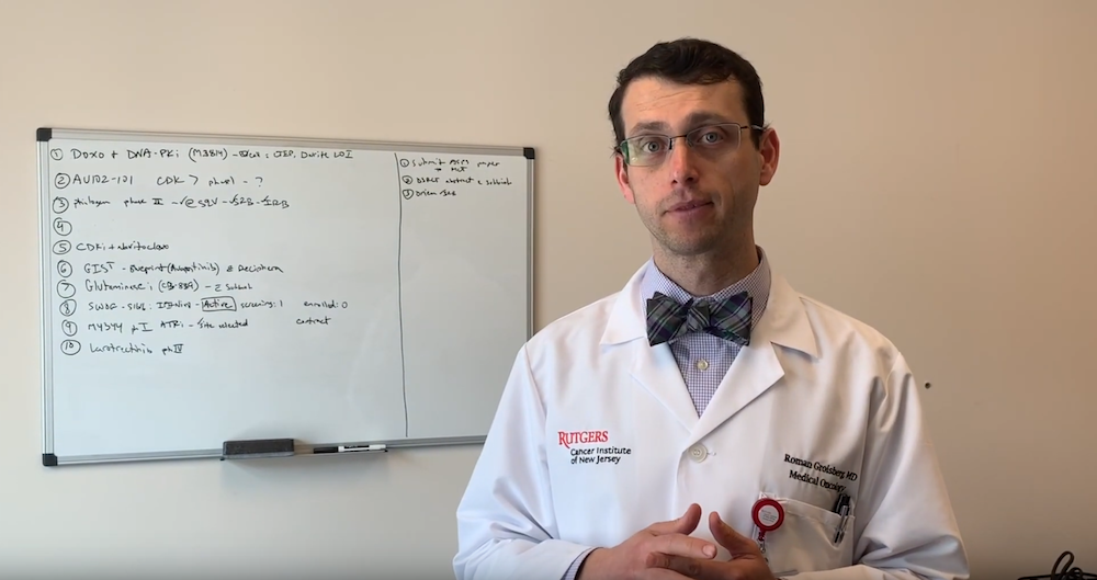 screenshot of video of Dr. Roman Groisberg discussing skin cancer prevention techniques
