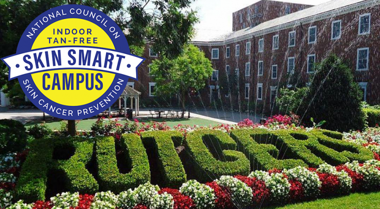 Rutgers Skin Smart Campus header graphic showing Skin Smart Campus logo and outdoor shot of shrubbery spelling RUTGERS